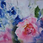 A jumble of rose and delphinium 2